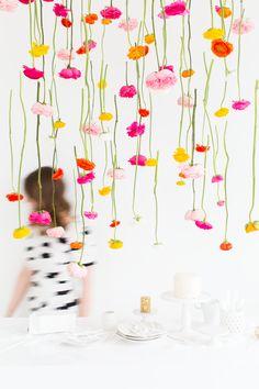 DIY Hanging Flower Installation via Sugar and Cloth