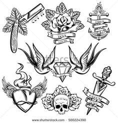 Ideas Tattoo Old School Rose Design Flash Art, Unique Tattoos, New Tattoos, Body Art Tattoos, Hand Tattoos, Sleeve Tattoos, Ship Tattoos, Knuckle Tattoos, Old School Tattoo Designs, Small Tattoo Designs