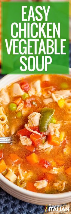 Our chicken vegetable soup recipe uses rotisserie chicken, frozen veggies, and pasta, for the easiest meal ever. Make it for dinner tonight!