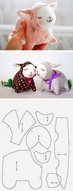 Ovelhinha de lã Cute fabric lamb pattern