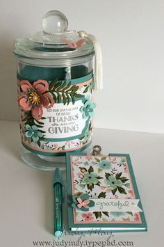 Stampin' Up! Birthday Bouquet DSP and Botanical Builder framelits. Gratitude Jar and matching notepad - Judy May, Just Judy Designs Homemade Gifts, Diy Gifts, Gratitude Jar, Gratitude Quotes, Prayer Jar, Happy Jar, Birthday Bouquet, 3d Paper Crafts, Stampin Up Catalog
