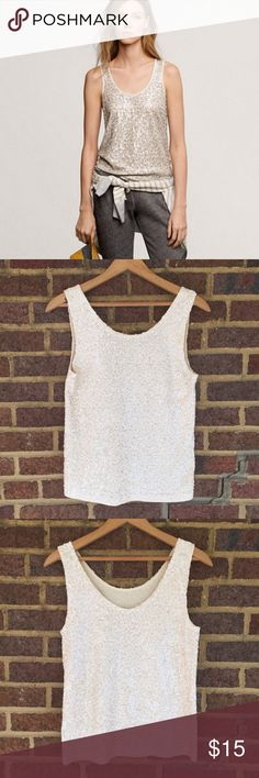 J. Crew Sequin Tank Cream colored sequin tank that is great for all year round. Soft cotton interior with substantial weight. Slightly lower in the back. EUC J. Crew Tops Tank Tops
