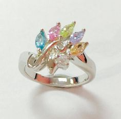 Mix Multi color Cubic Zirconia 925 Sterling silver ring handmade great designed #Handmade #Band