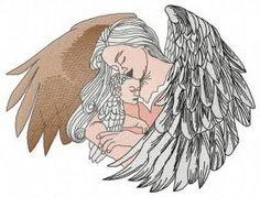 Angel with newborn machine embroidery design. Machine embroidery design. www.embroideres.com
