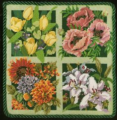 "Bucilla ""Four Seasons"" Flowers Floral Needlepoint Kit"