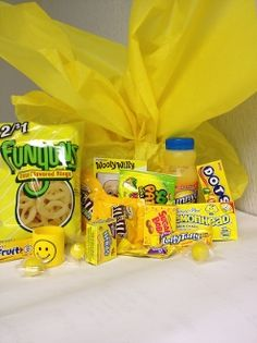 A Box of Sunshine is FULL of all yellow items.  Who doesn't like receiving a box of happiness?  Send one today!
