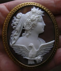 """""""Allegory Of The Day""""  Sardonyx Shell in 15k Gold Frame, Italy,  c. 1860   Frame could be English"""