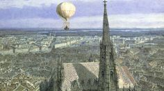"""Stephansdom, the Cathedral of St. Stephen, founded 1147 and seat of the Archbishop of Vienna. Symbol of the city of Vienna and of Austria, has the tallest spire in Austria and is the """"centerpiece of Vienna"""". Watercolor by Jakob Alt, 1847 St Stephen's Cathedral Vienna, St Etienne, Amber Tree, Balloon Flights, Russian Painting, Balloon Rides, Air Balloon, Austro Hungarian, Old Trains"""