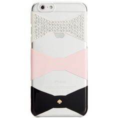 kate spade new york Oversized Bow Gem iPhone 6 Resin Case ($45) ❤ liked on Polyvore featuring accessories, tech accessories, pastry pink and kate spade