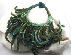 Statement necklace felt fiber art green tentacle by thelintballoon
