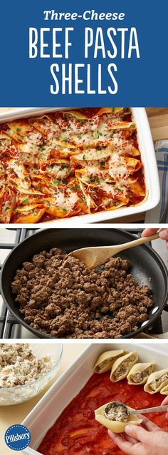 Put a delicious spin on traditional stuffed shells with this recipe that packs hearty ground beef and three types of cheeses: Parmesan cheese, Italian cheese blend and chive and onion cream cheese. The result is a filling, delicious casserole that is bound to become a new household fave. Perfect for weeknight dinners or for hosting party guests!