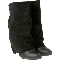 """Suede fold over heeled boot with leather cap toe. 3.5"""" covered heel. Leather insole. Imported. Color: Black"""