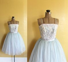 vintage 1950s party dress ll vintage 50s light blue by fanciness, $325.00