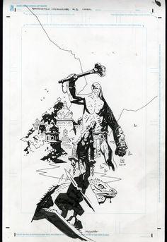 Frankenstein Underground #3 Cover by Mike Mignola