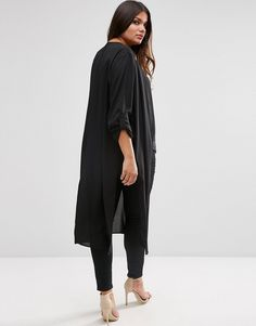 Image 2 of ASOS CURVE Maxi Kimono with Side Splits