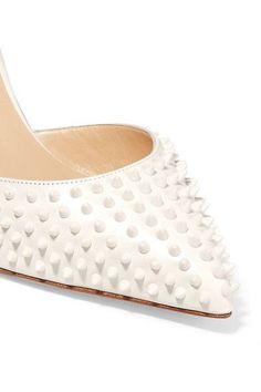 Christian Louboutin - Baila 85 Spiked Leather Pumps - White - IT41.5