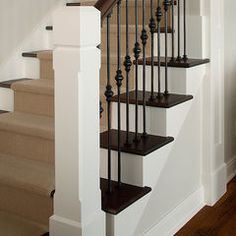 traditional staircase by Visbeen Associates, Inc.  square banister/baulster with dark treads