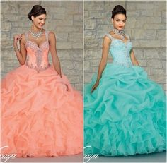 2015 Gorgeous Beaded Straps Sweetheart Organza Layered Coral Mint Quinceanera Dresses Ball Gowns Girl Sweet 16 Dresses