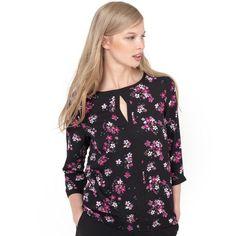 Blusa estampado flores, decote redondo, mangas compridas