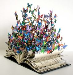 Colorful  Butterfly Book Sculpture-David Kracov