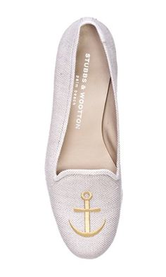 Anchor white loafer flats with gold anchor for your next nautical outfit.  Delta Gamma 54e8952ca955