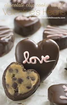 Chocolate Chip Cookie Dough Valentine's Hearts - Chocolate Dessert Recipes - OMG Chocolate Desserts