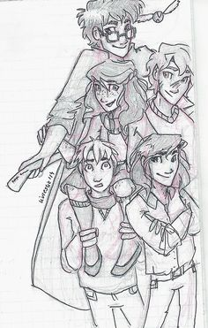 The Marauders and Lily Harry Potter Sketch, Harry Potter 2, James Potter, Regulus Black, Sirius Black, Peter Pettigrew, Black Sisters, Lily Potter, Lily Evans