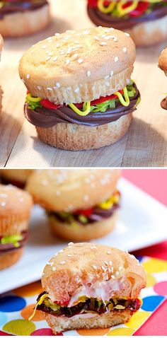 Burger Cupcake - photo inspiration only - slice cupcake, add chocolate frosting, pipe yellow & red & green icing to resemble mustard & ketchup & lettuce, replace top and sprinkle with sesame seeds!