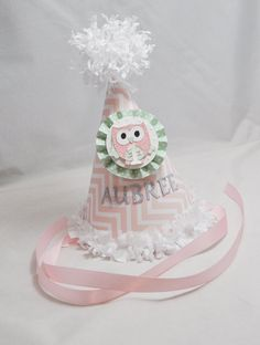 Owl 1st Birthday Party Hat Girl Chevron by CardsandMoorebyTerri, $15.00