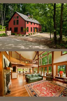 The Sawyer Farmhouse is a true post and beam barn style home. Visit to see more, including floor plans. #farmhouses