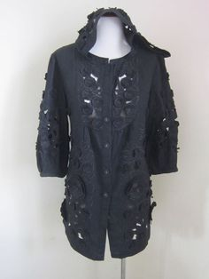 Marc Jacobs. size 10 Solid black embroidered linen button down Shirt occasion
