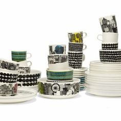 The Marimekko Siirtolapuutarha & Räsymatto dinnerware line is a cleverly detailed tableware collection by Marimekko that takes the viewer through a tale of country life in an urban setting.