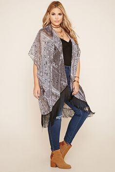 Forever 21+ - A semi-sheer ornate print kimono featuring an open front, short sleeves, and a fringed hem.