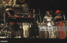 American singer and musician Sly Stone of the funk band 'Sly and the Family Stone' and his backup singers performing at the Schaefer Music Festival...