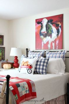 Whimsical Fall In The Guest Room With Colorful Bedding, Vintage Quilt,  Pumpkins, Apples