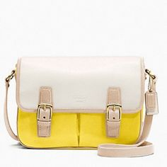 •COACH• Yellow Color Block Shoulder Bag Used. Shows some wear. Slip pocket on back. 2 pockets under the flap. Zipper pocket inside. Adjustable strap.  See other listing for more photos Coach Bags Shoulder Bags