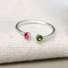 dual birthstone ring. two birthstone ring. couples ring. Etsy.