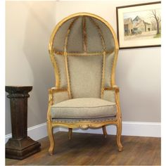 Antique Dome Comfy Beige Porters Chair Maple Fnsh Country French Balloon Bonnet Canopy