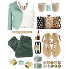 Deep green and mint and nude.  Why didn't I think of this!?  got military green carpi, mint cardigan, thinking about buying that nacklace so perfect! match with nude high heels.