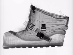 """This handout image provided by the Smithsonian National Air and Space Museum shows an X-ray of an extravehicular (EV) overshoe that was designed to be worn over the Apollo spacesuit boots while an astronaut was walking on the Moon, part of a new art exhibit at the museum entitled: """"Suited for Space,""""opening Friday that highlights the creativity behind the suits that allowed humans to explore the moon and aspire to fly further from Earth."""