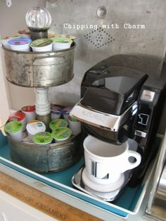"""Chipping with Charm: A Couple More Drawer Shelves...and a """"coffee station"""" gone crazy!!"""