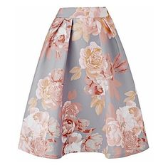 Floral Print Prom Skirt with Pockets (1.450 UYU) ❤ liked on Polyvore featuring skirts, floral printed skirt, floral knee length skirt, prom skirt, flower print skirt and pocket skirt