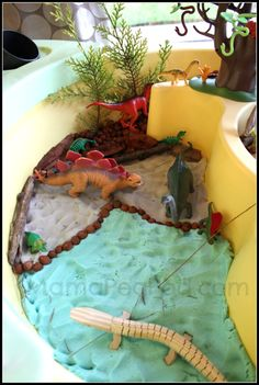 Dinosaur small world play with play dough