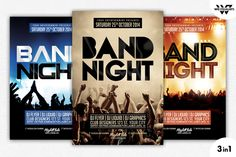 3in1 BAND CONCERT Flyer Template by WG-VISUALARTS on @creativemarket