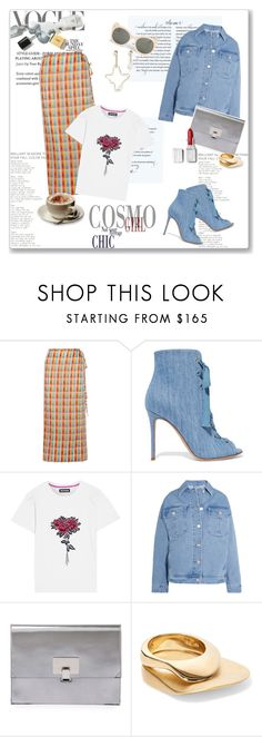 """""""Denim craze"""" by lidia-solymosi ❤ liked on Polyvore featuring Miu Miu, Gianvito Rossi, House of Holland, Topshop Unique, Proenza Schouler, Charlotte Chesnais, Parra and Monki"""