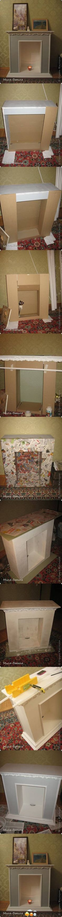 paper mache' fireplace, great for Christmas and hanging up stockings. Probably the easiest and simplest way to make a faux fireplace.