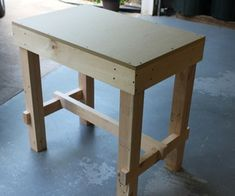Collapsible work bench-- the base can be disassembled and everything fits neatly into the tabletop.