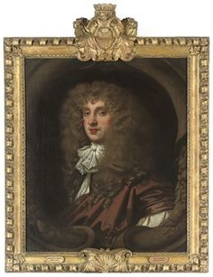 Portrait of a gentleman, traditionally identified as Christopher Monck, 2nd Duke of Albemarle (1652-1688), bust-length, in a brown robe and lace cravat, in a sculpted cartouche