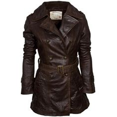 Women's Double Breasted Leather Belted Trench Coat - Features antique brass trims with epaulettes to the shoulders - Multi stitch detail to the collar stand...