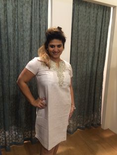 Linen & more natural embroidery dress